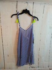 Nobo Blue White Striped Cover Up Swim Jr. Med. Flounced Deep V tassels tie strap