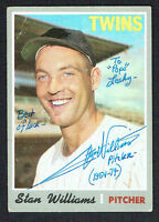 Stan Williams #353 signed autograph auto 1970 Topps Baseball Trading Card