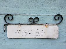 SIGN BRACKET house # MAIL BOX wrought iron PLAQUE vtg ANTIQUE name plate