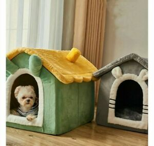 Pet Dog Cat House Bed Semi-Enclosed Villa All Seasons Kennel Washable Non-Skid