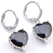 10MM Heart Shaped Natural Gemstone Black Onyx Silver Danlge Hook Earrings