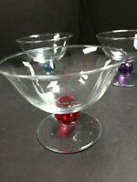 Vintage Glass Footed Ice Cream Sherbet Dessert cup with colorful stems set of 4