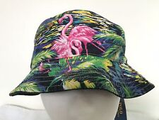 Polo Ralph Lauren Bucket Hat~Solid Black~Reversible~Flamingos~Size S/M~NWT