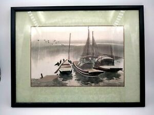 Vintage Chinese Straw Picture Landscape River Boats Birds
