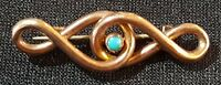 9 carat solid gold turquoise stone vintage Victorian antique Celtic Knot brooch