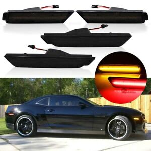 Smoked Lens LED Front & Rear Side Marker Lamps Lights For 10-15 Chevy Camaro