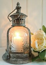 French Vintage Lantern Antique Candle Holder Shabby Chic Metal Glass Home Garden