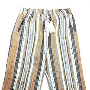 ANTHROPOLOGIE SPARKZ High Waisted Striped Textured Pants  XS S M L - NWT
