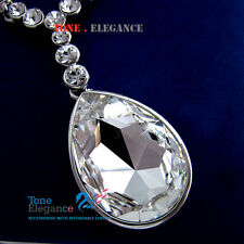 18k white gold GF wedding solid necklace made with swarovski elements crystal