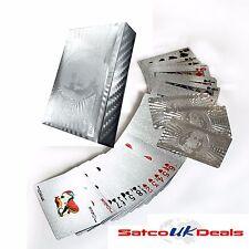 Naipes 24K Dólar De Plata $100 Lámina Ful Poker Alta Impermeable 54 Tarjetas