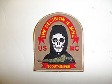 13002 USMC Sniper Patch The Decision is Mine Scout Sniper R7C