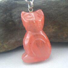 Cherry Quartz Pink Hand Carved Cat Gem Necklace Chain Pendant