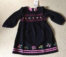 Navy FLORAL NWT Jojo Maman Bebe Smock Blue Velvet Cord Little Girls Dress 3-4