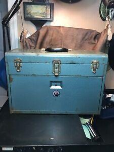 """Vintage Industrial Machinist Steel 7 Drawer Toolbox By Waterloo.20.4""""x8.8""""x14.8"""