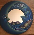 """NEW MOON & BIRD MIRROR 12"""" Hand Carved & Painted BLUE"""