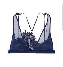 Victoria's Secret Unlined Dragon Lace Plunge Bra Size M Blue