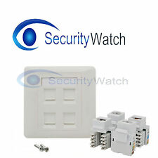 4 Port CAT5e RJ45 Network Faceplate Face Plate Double Gang Wall Socket #0391