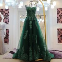Emerald Green Formal Evening Gowns Prom Party Evening Dresses Lace Applique Long
