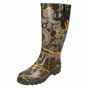 Ladies X1R159 Brown Abstract Swirly Print Wellies