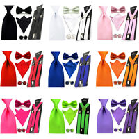 Men Solid Satin Bowtie 8cm Necktie Pocket Square Hanky Suspender Cufflinks Set