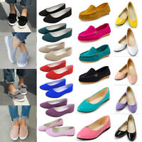Womens Ballerina Ballet Dolly Flat Boat Casual Loafers Comfy Slip On Shoes Size