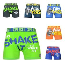 Mens Designer Stretch Lycra Rude Novelty Explicit Crosshatch Boxer Shorts Trunks