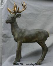 "19.2"" Old China Bronze Gilt Feng Shui Animal sika deer spotted deer Art Statue"
