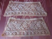 Antique Victorian/Edwardian Tambour Net Lace Beige/Ecru Cuffs~FRENCH ESTATE FIND
