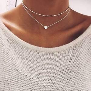 Mehrschichtige Herz Halskette Quaste Anhänger Choker Gold Silber Blogger Trend