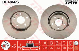 TRW Brake Rotor Front DF4866S fits Audi A5 1.8 TFSI (8F7) 118kw, 1.8 TFSI (8F...