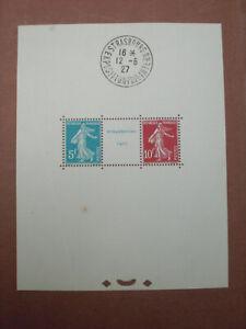 1927 bloc feuillet N° 2 avec timbres 242A Strasbourg exposition philatélique