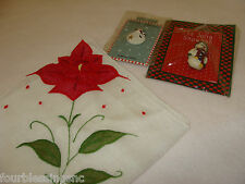 Lot Of (2) Santa Pins/Brooches-Nip-Poinset tia Handkerchief-New-Stocking Stuffers