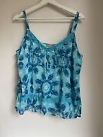 TURQUOISE BLUE FLOATY CAMI TOP 14 PARTY HOLIDAY BOHO IBIZA SUMMER TOWIE PRETTY