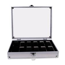 Caja de Reloj de Aluminio de Vidrio Organizador Bandeja de Joyería del Reloj
