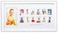 Baby Frames Collection, 8.5x16.3-inch My First Year Baby Photo Wood Frame, White