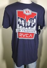 RVCA San Francisco Short Sleeve Blue Cotton Graphic T-Shirt Men's XL NWT