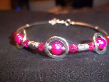 Tibetan Silver PINK Pearl & PINK Crystal Bead CUFF Bracelet B-44