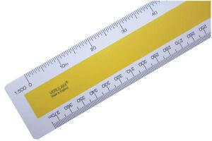 """300mm 12"""" No.43 ordnance scale ruler 1:500 1:1250 1:2500 1:10560 ft 6""""=1 mile"""