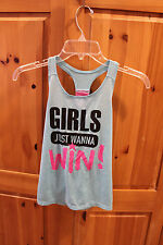 "Mad Engine Girls Girls ""Girls Just Wanna WIN!"" Tank, size M (10/12) Glitter"