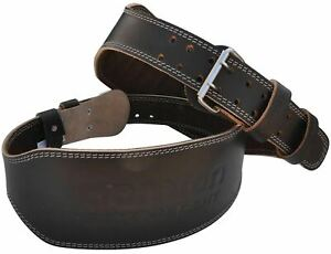 """Aamron ® 6"""" Tanned Leather Weight Lifting Belt Back Support Strap Gym Training"""