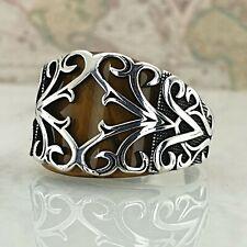 HandMade Solid 925 Sterling Silver Mens Tiger Eye Gemstone Ring Anatolian Style