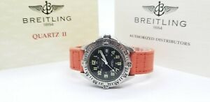 Breitling Colt A57035 Black Dial on Orange Strap with Official Booklets - 38mm