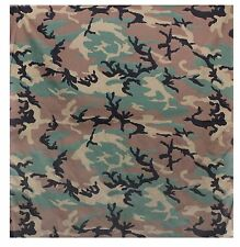 "Extra Large Woodland Camo Bandana - Super Big 35"" Camouflage Cotton Bandanas"