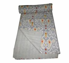 kantha Quilt Ikat Indian Cotton Handmade Bedspread Twin Size Gudari Grey