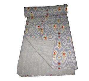 kantha Quilt Ikat Indian Cotton Handmade Bedspread Twin Size Gudari Grey