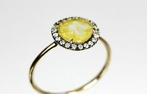 Fancy Yellow Sliced Diamond Ring in 18k Yellow Gold SL Dia 0.47cts, Dia 0.13cts*