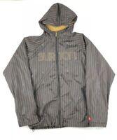 Burton Women's Size Medium Full Zip Jacket Brown Striped Hooded Lightweight