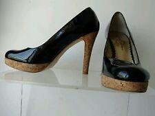 Jessica Simpson 6 Black Patent Leather Made in Brazil Platform & Cork Heels