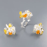 Opal Ring Silver 925 Sterling SET Jewelry Unique Set Size 7.25 /R136587