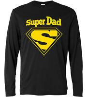 """T-shirt a manica lunga Uomo """"Super Dad Superman Logo"""" 100% cotone"""